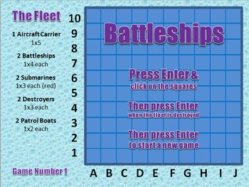 Battleships on PowerPoint (games 1-10)