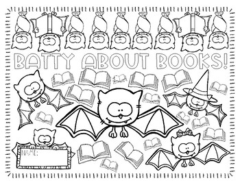 Batty About Books Coloring Page