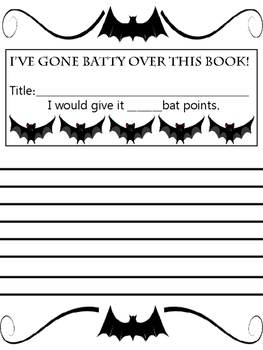 Batty About Books Fall Halloween Bulletin Board Reading Writing Class
