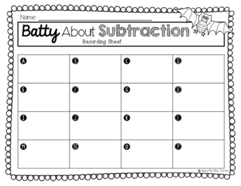 Batty About Subtraction 2 and 3 Digit With and Without Regrouping {QR Codes}