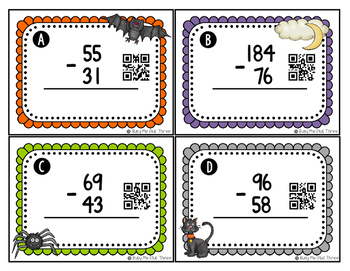 Halloween Math Game, Subtraction, 2 and 3 Digit With Regrouping {QR Codes}