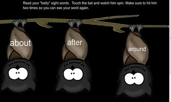 Batty First Grade Sight Word Smartboard