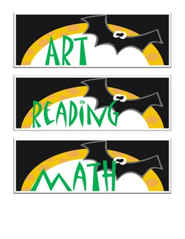 Batty Halloween Daily Schedule Cards for October