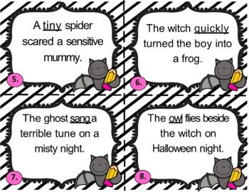 Batty Halloween Parts of Speech Review