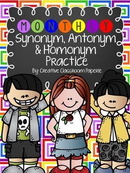 Synonym, Antonym & Homonym Practice (Monthly/holiday themed worksheets)