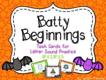 Halloween Task Cards: Batty for Beginning Sounds