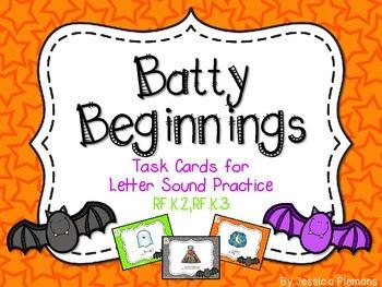 Halloween Task Cards: Batty for Beginning Sounds