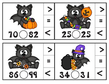 Batty for Candy Comparing Numbers Math Clip Cards