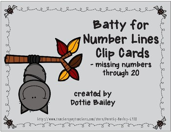 Batty for Number Lines Missing Number Clip Cards