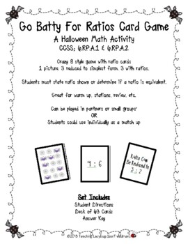 Batty for Ratios Card Game - Halloween Crazy 8 Style Game  6.RP.A.1 & 6.RP.A.2