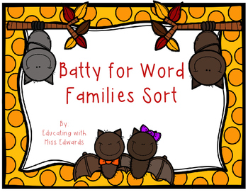 Batty for Word Families Sort