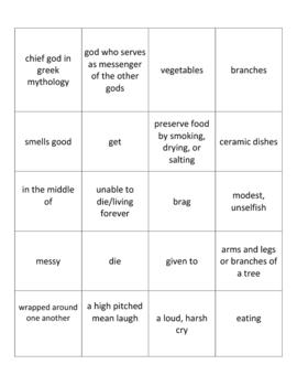 Baucis and Philomon Holt Lit. Intro Gr. 6 Vocabulary Cards