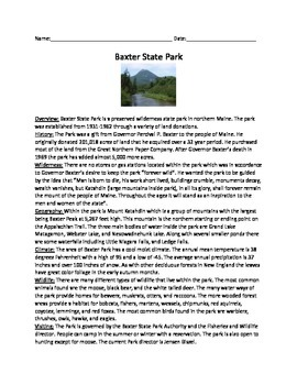 Baxter State Park - Maine - Informational Article Review Questions Vocab