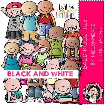 Baylee's Bald Kidlettes clip art - BLACK AND WHITE- by Melonheadz