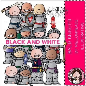 Baylee's Bald Knights clip art - BLACK AND WHITE- by Melonheadz