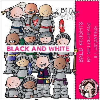 Melonheadz: Baylee's Bald Knights clip art - BLACK AND WHITE