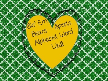 Baylor Sic 'Em Bears Alphabet Word Wall