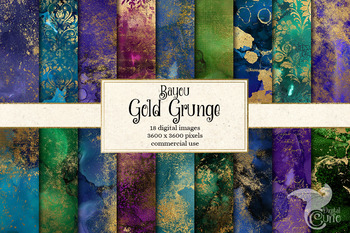 Bayou Gold Grunge textures, glitter watercolor paint backgrounds