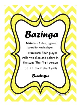 Bazinga Math Game and Center