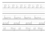 Bb and high frequency words handwriting sheet