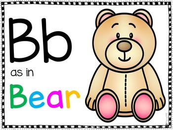 Bb as in Bear/Dd as in Dog Classroom Posters