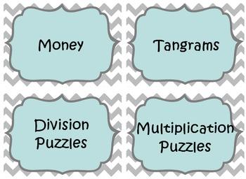 Blue and Grey Chevron Grade 4 Math Center Bin Labels (EDITABLE)