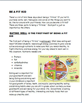 """Be A Fit Kid- lesson on the 3 elements to be a """"Fit Kid"""" - Activities"""
