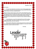 Be A Leader Letter Home to Parents