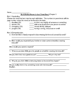Be A Perfect Person In Just Three Days! Comprehension and Vocabulary Packet