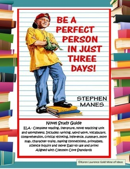 Be A Perfect Person in Just Three Days! ELA Novel Reading
