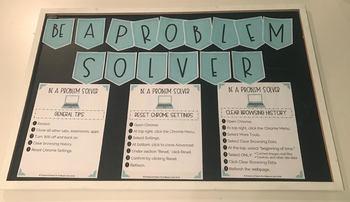 Be A Problem Solver Bulletin Board for Chromebooks - Aqua
