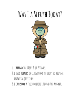 Be A SLEUTH Reminder Anchor Chart - Reading Street