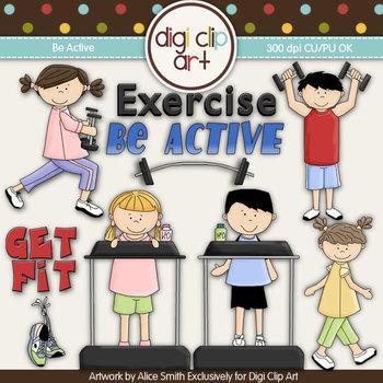 Be Active! -  Digi Clip Art/Digital Stamps - CU Clip Art