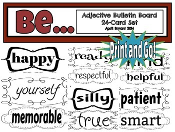 Be... Adjective Bulletin Board Signs