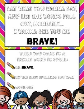 Be Brave: Poster for spelling tricky words
