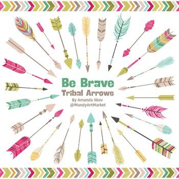 Be Brave Tribal Arrow Clipart & Vectors in Bohemian - Tribal Arrows