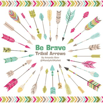 Be Brave Tribal Arrow Clipart & Vectors in Bohemian - Trib