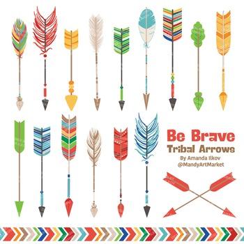 Be Brave Tribal Arrow Clipart & Vectors in Crayon Box - Tr