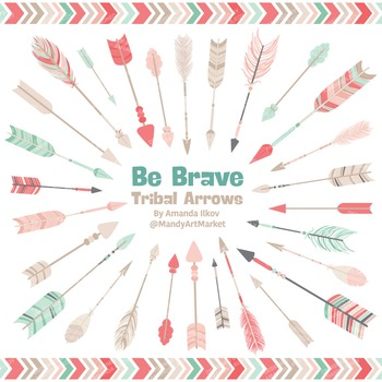 Be Brave Tribal Arrow Clipart & Vectors in Mint & Coral - Tribal Arrows