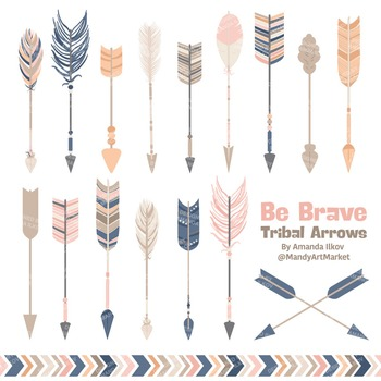 Be Brave Tribal Arrow Clipart & Vectors in Navy & Blush - Tribal Arrows