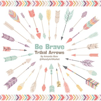 Be Brave Tribal Arrow Clipart & Vectors in Vintage - Triba