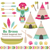 Be Brave Tribal Clipart & Vectors in Bohemian - Tribal Clip Art, Totem, Arrow