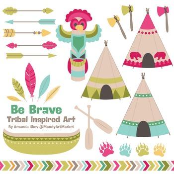 Be Brave Tribal Clipart & Vectors in Bohemian - Tribal Cli