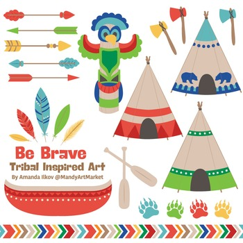 Be Brave Tribal Clipart & Vectors in Crayon Box - Tribal Clip Art, Totem, Arrow