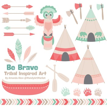 Be Brave Tribal Clipart & Vectors in Mint & Coral - Tribal Clip Art, Totem