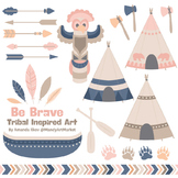 Be Brave Tribal Clipart & Vectors in Navy & Blush - Tribal Clip Art, Totem Pole