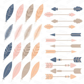 Be Brave Tribal Clipart & Vectors in Navy & Blush - Tribal Clip Art, Totem Pole