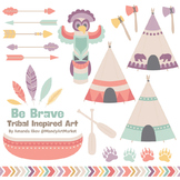 Be Brave Tribal Clipart & Vectors in Vintage - Tribal Clip Art, Totem, Arrow