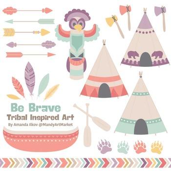 Be Brave Tribal Clipart & Vectors in Vintage - Tribal Clip Art, Totem, Arrow