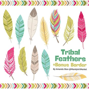 Be Brave Tribal Feathers Clipart & Vectors in Bohemian - Feather Clip Art